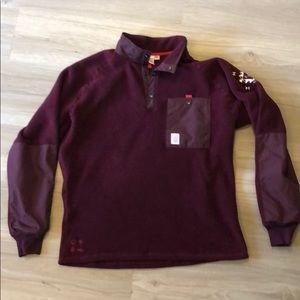 Topo Designs Maroon Fleece Large